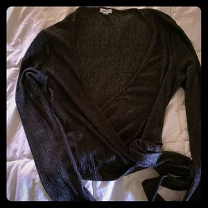 Faux wrap ribbed long sleeve top